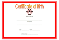 Official Cat Birth Certificate Template FREE Editable