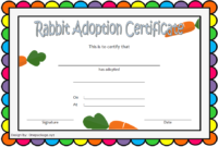 Printable Bunny Adoption Certificate Template FREE with Carrots