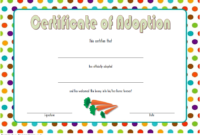Printable Bunny Adoption Certificate Template Free