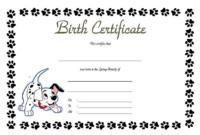 Puppy Birth Certificate Printable Free (Popular Design)
