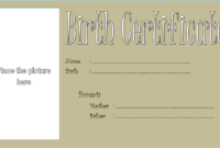 Puppy Birth Certificate Template Free with Blank Picture 1