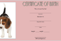 Puppy Birth Certificate Template Free with Picture
