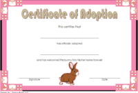 Rabbit Adoption Certificate Template FREE Printable (Easter Bunny Design)