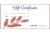 Spa Gift Certificate Template Free Download 01