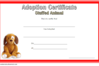 Stuffed Animal Adoption Certificate Template FREE Editable for Puppy