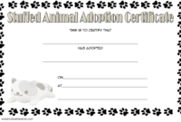 Stuffed Animal Adoption Certificate Template Free with Cat Footprints