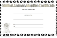 Stuffed Animal Pet Adoption Certificate Template FREE with Puppy Footprints