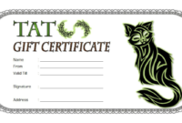 Tattoo Gift Certificate Template FREE Printable (April 2018