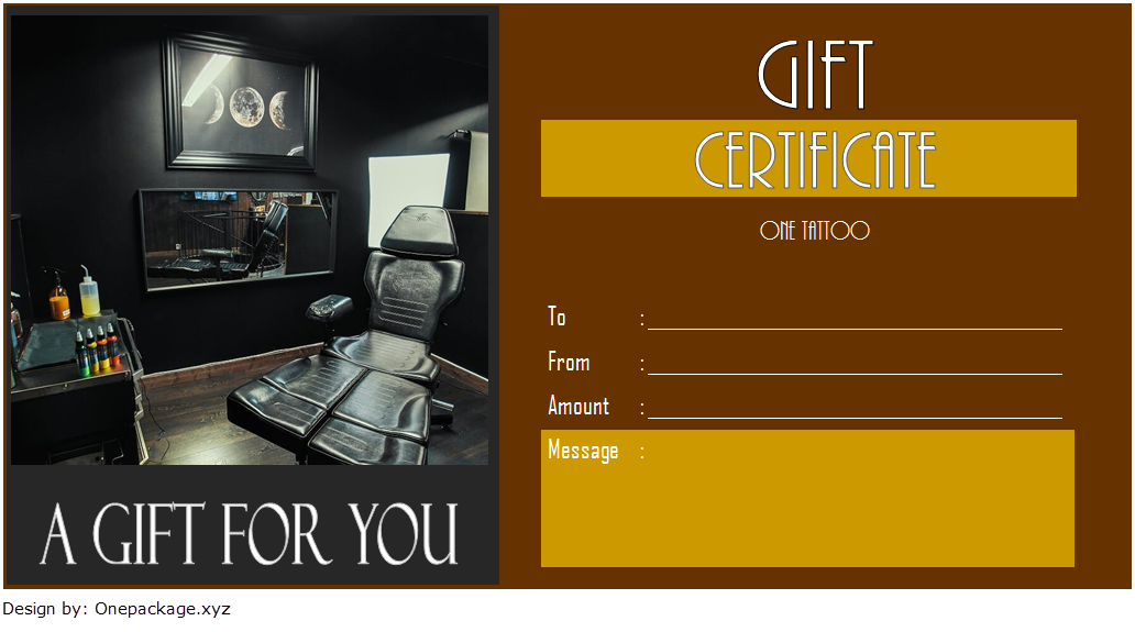 tattoo gift certificate template free, tattoo shop gift certificate template, tattoo gift voucher template, blank tattoo voucher, editable tattoo voucher template