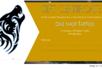 Tattoo Shop Gift Certificate Template Free Printable (2nd Version)