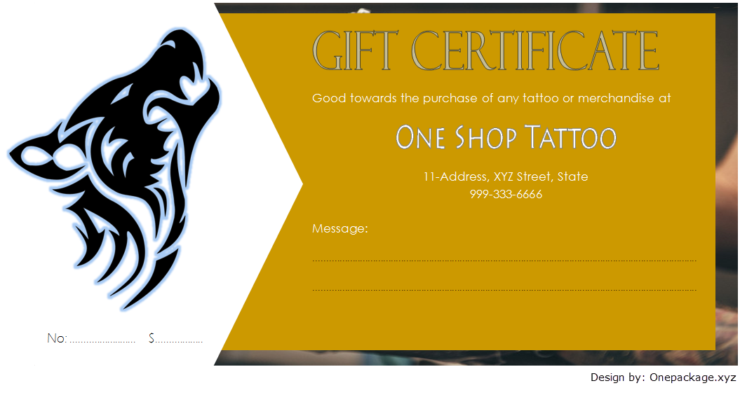 tattoo gift certificate template free, tattoo shop gift certificate template, tattoo gift voucher template, blank tattoo voucher, editable tattoo voucher template