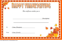 Thanksgiving Gift Certificate Template Free 4 (Microsoft Word)
