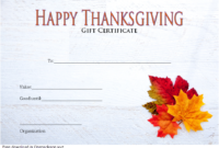 Thanksgiving Gift Certificate Template Free (Modern Design)