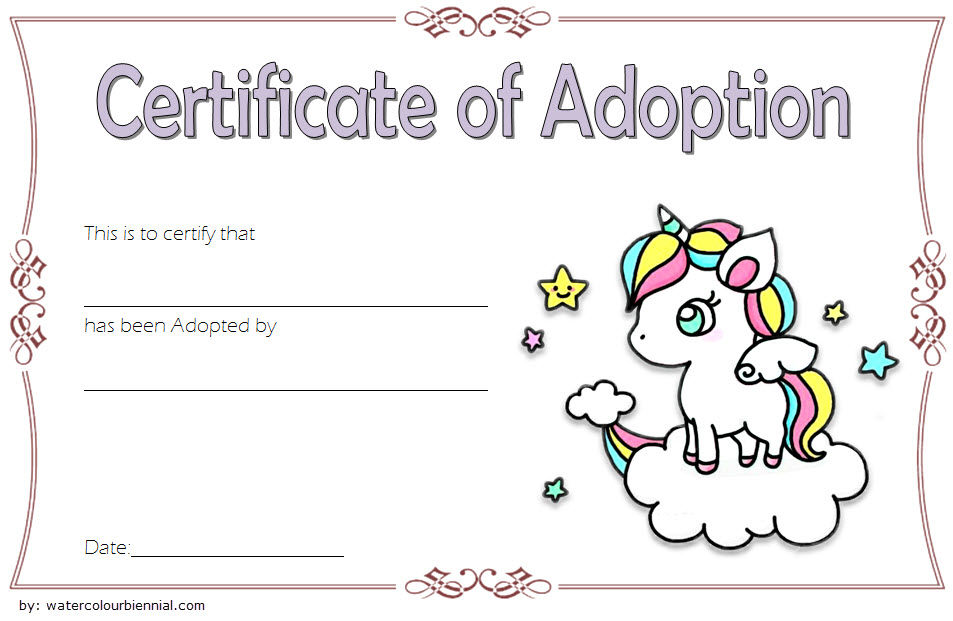 unicorn adoption certificate free printable, unicorn adoption certificate printable, free printable unicorn adoption certificate