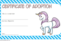 Unicorn Adoption Certificate Free Template (Blue)