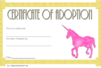 Unicorn Adoption Certificate Free Template with Fantasy Theme