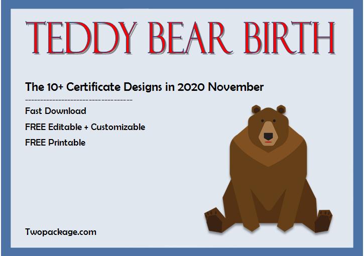 10+ Adorable Teddy Bear Birth Certificate Free Printables
