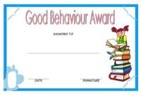 1st Good Behavior Award Certificate Template for Student