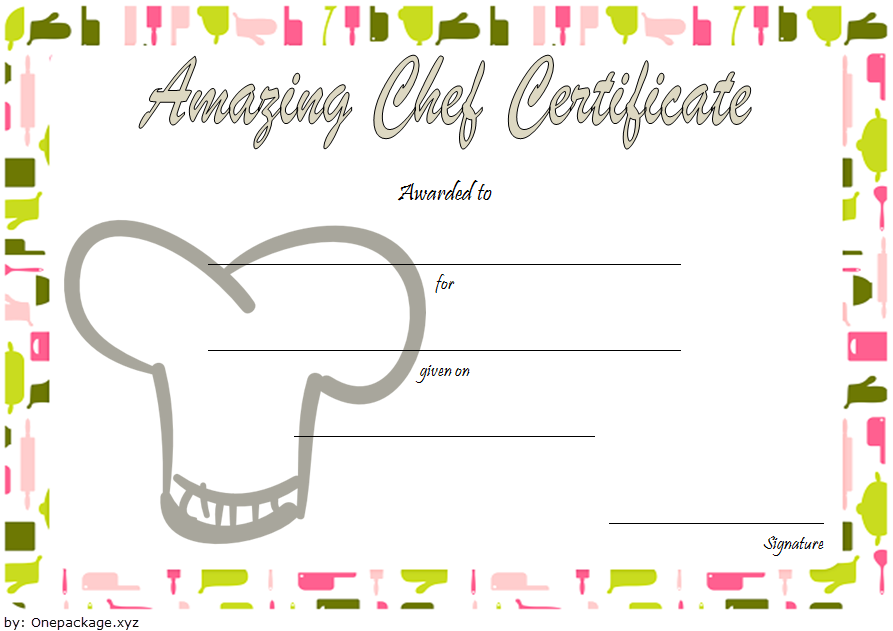 chef certificate template, pampered chef gift certificate template, chef of the month certificate template, master chef certificate template