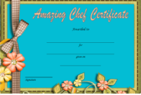Chef of The Month Certificate Template Free 2