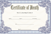 Death Certificate Template Free Printable 1