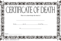 Death Certificate Template Free Printable 3