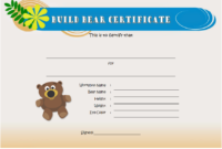 FREE Build a Bear Workshop Birth Certificate Template Printable 1