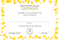 FREE Santa's Nice List Certificate Template 1