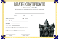 Free Haunted Mansion Death Certificate 2019 Template 3