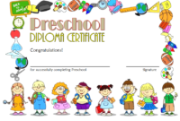 Free Printable Preschool Diploma Certificate (Version 3)