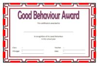 Good Behavior Award Certificate Free Printable 1