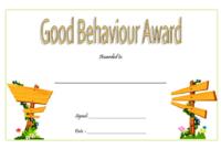 Good Behavior Certificate Printable Free for Kindergarten 1