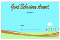 Good Behavior Certificate Printable Free for Kindergarten 2