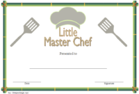 Master Chef Certificate Template FREE 1