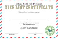 Nice List Certificate Template Free Printable 1