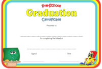 Preschool Graduation Certificate Editable Free (Version 2)