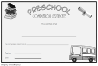 Preschool Graduation Certificate Editable Free (Version 4)