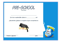 Preschool Printable Certificate of Completion Template Free 3