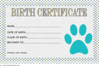 Printable Stuffed Animal Birth Certificate Free (1st Designs)