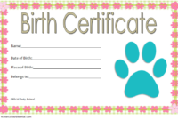 Printable Stuffed Animal Birth Certificate Free (2nd Designs)