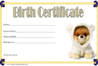 Stuffed Animal Birth Certificate Template FREE for Puppy