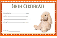 Stuffed Animal Birth Certificate Template FREE for Rabbit