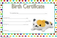 Stuffed Animal Birth Certificate Template Free for Cat