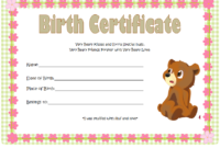 Teddy Bear Birth Certificate Free Printable 2