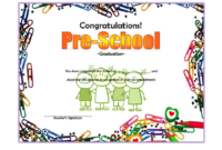 Template for Preschool Graduation Certificate Free 1