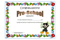 Template for Preschool Graduation Certificate Free 2