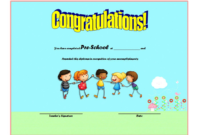 Template for Preschool Graduation Certificate Free 3