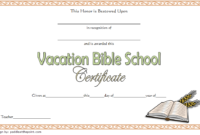 Vacation Bible School Certificate Template Free Printable 2