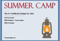 summer camp certificate design, camper of the week certificate template, summer camp certificate of participation