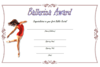 Ballerina Award Certificate Template Free Printable 1